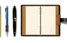 Vector Elegant Pen and Pocketbook
