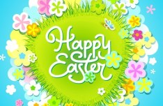 Cartoon Happy Easter Vector Design with Flowers and Grass 01