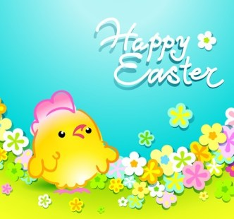 Cartoon Happy Easter Vector Design with Flowers and Grass 02