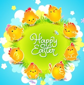 Cartoon Happy Easter Vector Design with Flowers and Grass 04
