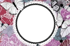 Vintage Hand Drawn Floral and Butterfly Vector Frame