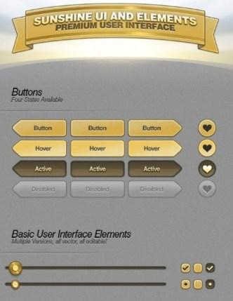 Golden Sunshine Web UI and Elements PSD