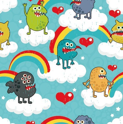 Vector Cartoon Little Monsters