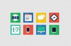 Simple Flat Web Icon Set (PSD)