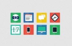 Simple Flat Web Icon Set (PSD)