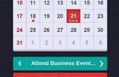 iOS Calendar Widget PSD Interface Design