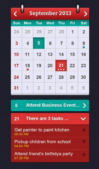 iOS Calendar Widget PSD Interface Design