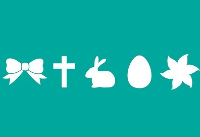 Flat White Happy Easter PSD Icons