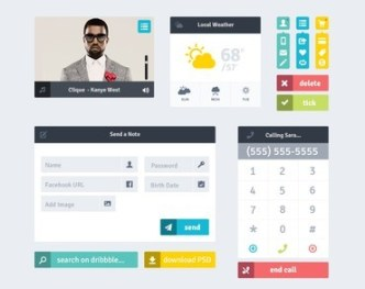 Flat Grid Layout Web UI Kit PSD