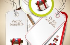 Set Clean Vector Tags with Gift Box Background