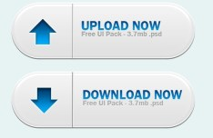 Blue and White Dowload & Upload Button Templates PSD