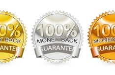 3 Money Back Guarantee Vector Badges with Ribbons
