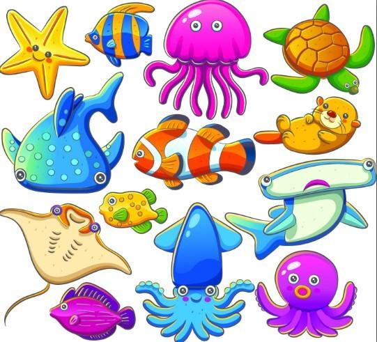 Cute Cartoon Marine Life Animals Vector Illustration 01