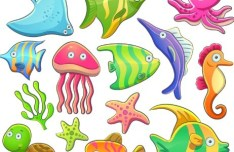 Cute Cartoon Marine Life Animals Vector Illustration 04