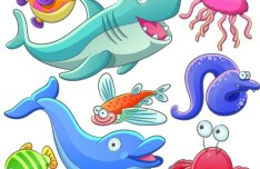 Cute Cartoon Marine Life Animals Vector Illustration 05