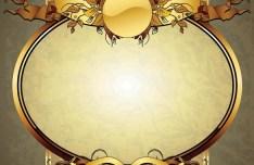 Golden Vintage Floral Framework Vector 06