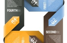 Colored Number Origami Vector Labels 02