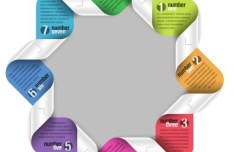 Colored Number Origami Vector Labels 04