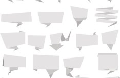 Set of Simple Blank Origami Vector Labels 02