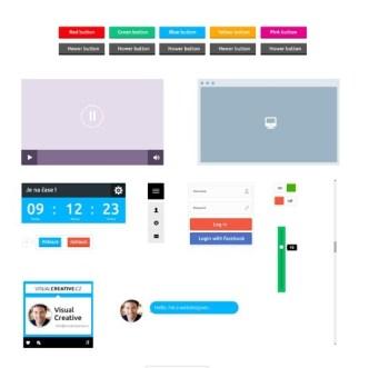 Simple Flat UI Kit PSD
