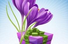 Elegant Violet Flower Vector Illustration 01
