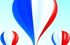 Vector Hot Air Balloon French Flag