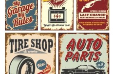 Set of Vector Vintage Garage Labels 02