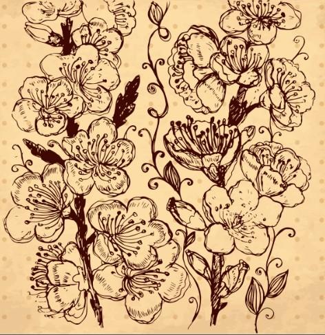 Vintage Dark Hand Drawn Vector Flowers 02