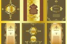 Vintage Golden Vector Floral Frames 05