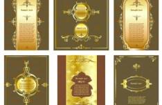 Vintage Golden Vector Floral Frames 06