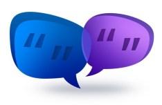 Blue and Purple Speech Bubble Shapes PSD