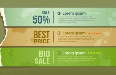 Creative Vector Sale Labels with Torn Paper Effect 02