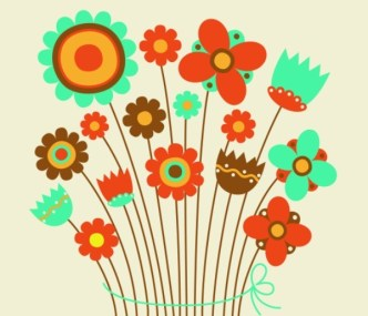 Cute Retro Flowers Vector Illustration 04