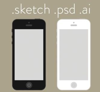 Flat iPhone Wireframe Design