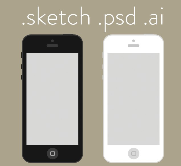 Flat iPhone Wireframe Design