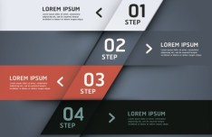 Stylish Infographic Origami Numeric Label Elements 01