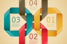 Stylish Infographic Origami Numeric Label Elements 04