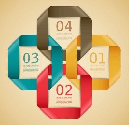 Stylish Infographic Origami Numeric Label Elements 04