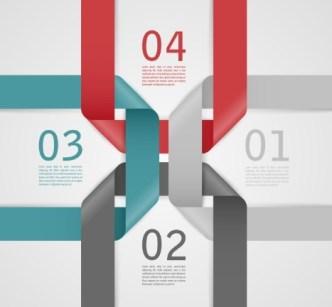 Stylish Infographic Origami Numeric Label Elements 05