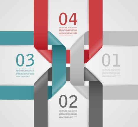 Stylish Infographic Origami Numeric Label Elements 05