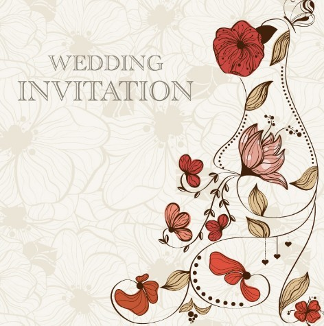 Free Vintage Wedding Invitation Card With Floral Background 01 Titanui