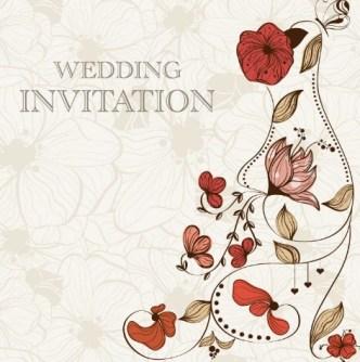 Vintage Wedding Invitation Card with Floral Background 01