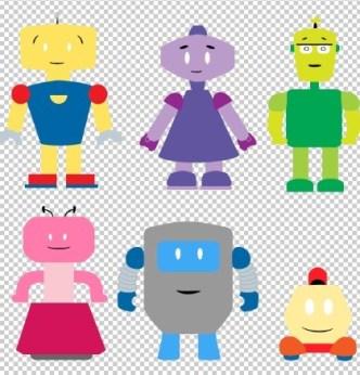 Vector Cute Cartoon Robots