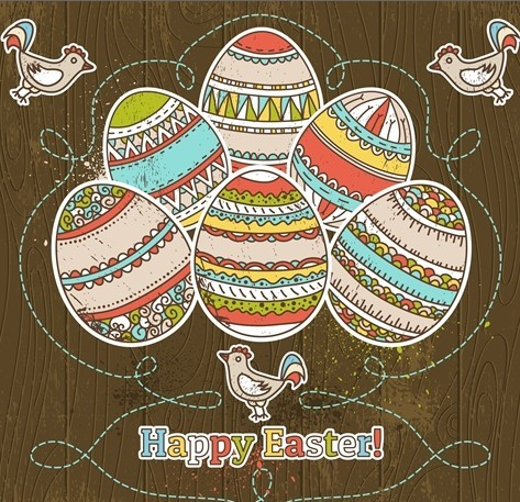Colorful Easter Egg Background Vector 03
