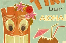 Retro Vintage Tiki Bar Label Sticker Vector