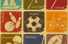 Set Of Vector Retro Vintage Sports Icons
