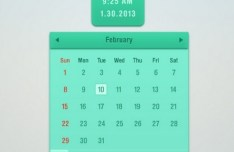 Flat Green Calendar and Clock PSD