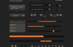 Sleek Dark Orange Web UI Kit PSD