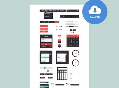Andreea's Black Web UI Elements PSD