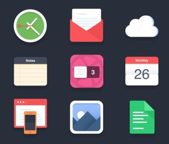 Flat and Colored App Icon Set PSD